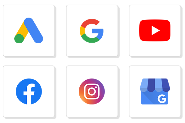 Images with logos of different platforms