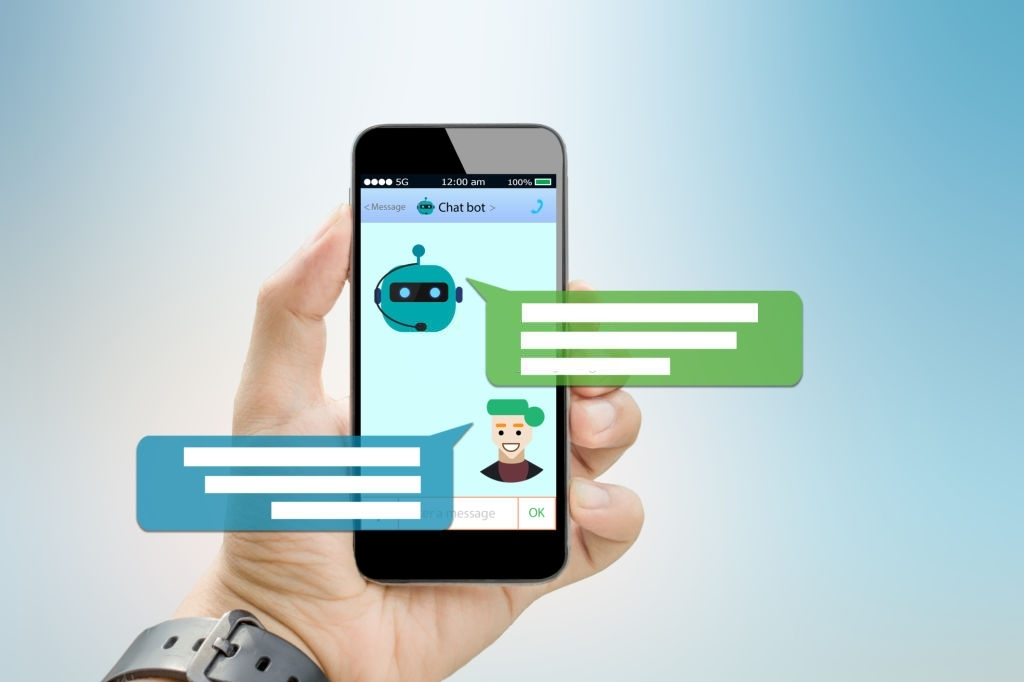 Mobile image with chatbot on screen