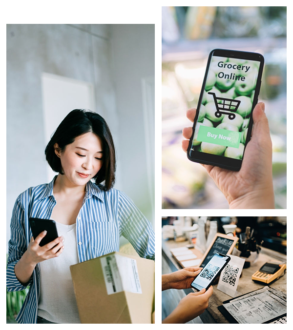 Image collage of girl with delivered product and two other image of online shopping through mobile device