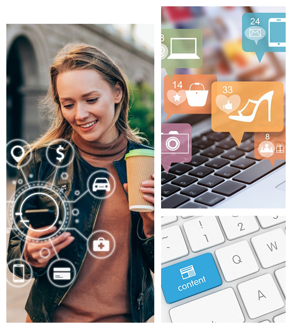 Image collage with girl with phone searching a keyboard with content written on one key another keyboard with products being searched