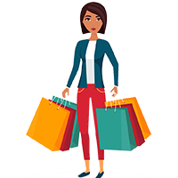 Women with shopping bags icon